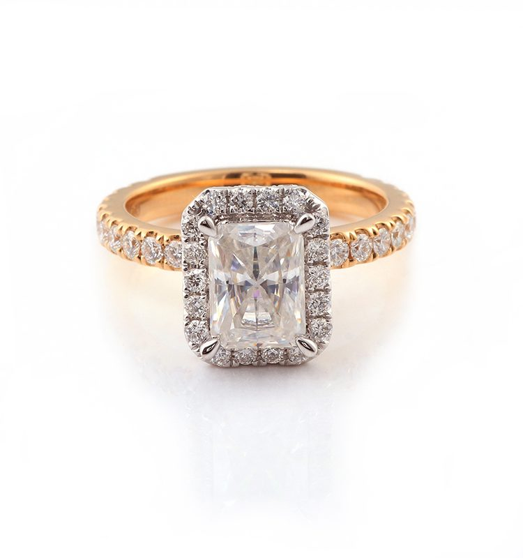 2ct Radiant Halo Pave Moissanite Shinny Ring
