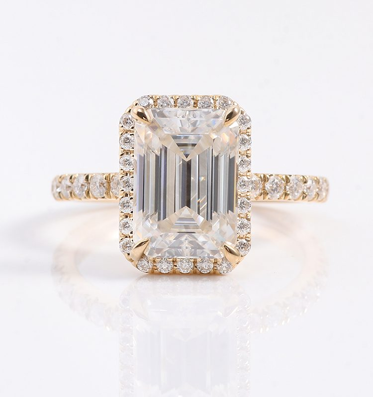 3ct Colorless Emerald Moissanite Halo Engagement Ring