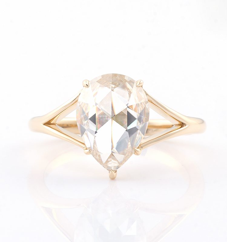 4.0ct Pear Rose Cut Moissanite Solitaire Ring