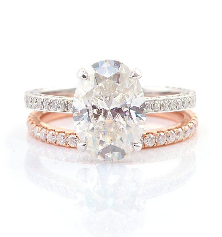 4.5ct Oval Brilliant Cut Pave-Setting Band Moissanite Ring Set