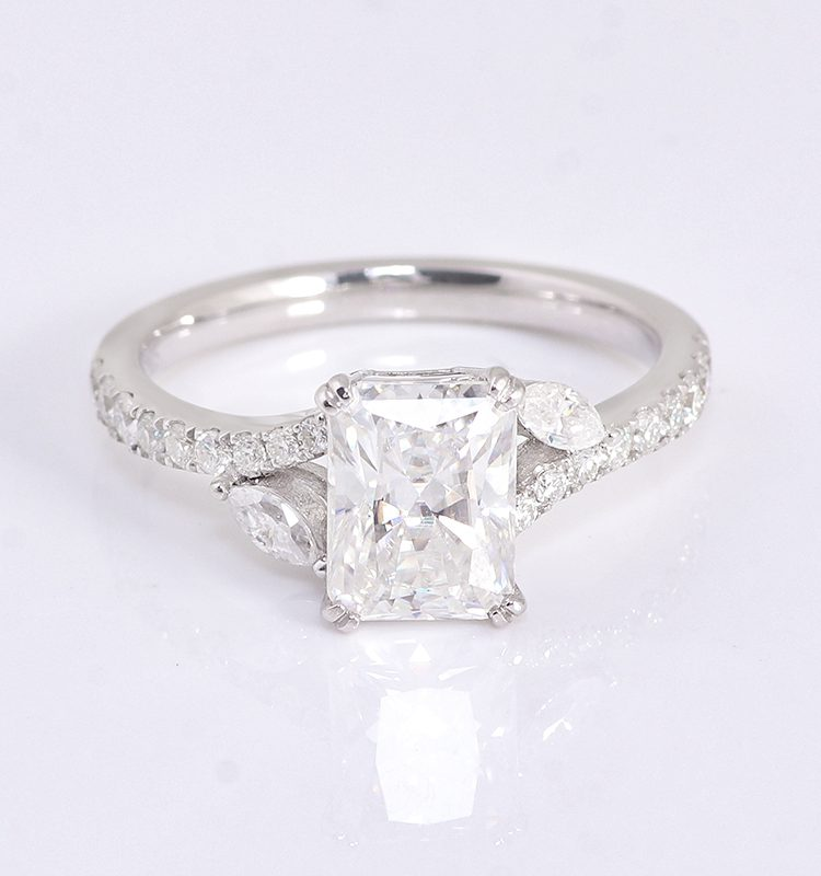 Colorless 2ct Radiant Cut Moissanite Engagement Ring