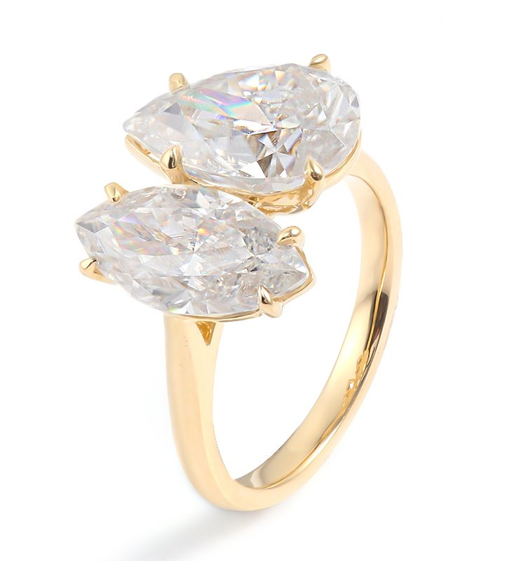 Eye-catching Pear & Marquise Moissanite Two-stone Engagement Ring