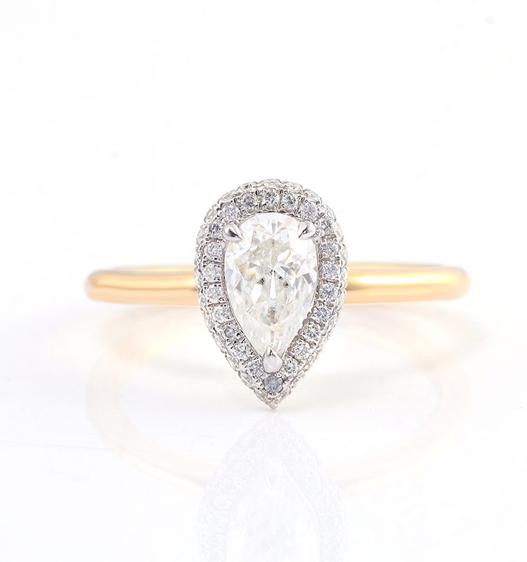 1ct Pear Cut Moissanite with Halo Engagement Ring