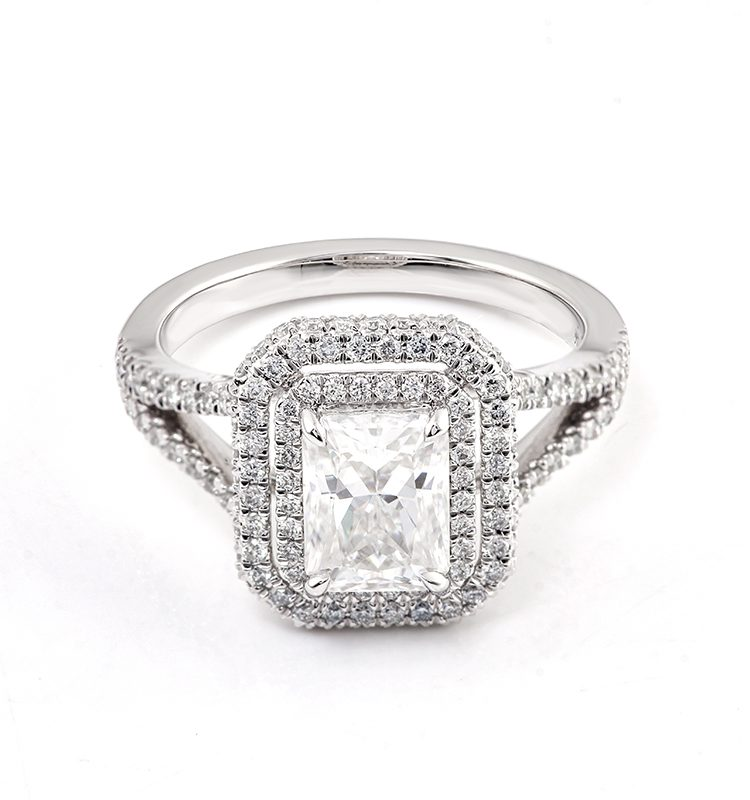 2ct Dazzling Radiant Moissanite with Melee Halo